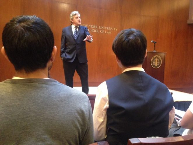 Gordon Brown at New York University on September 15, speaking on the subject of globalization and anti-globalization movements. Photo | Clare Church, JPI