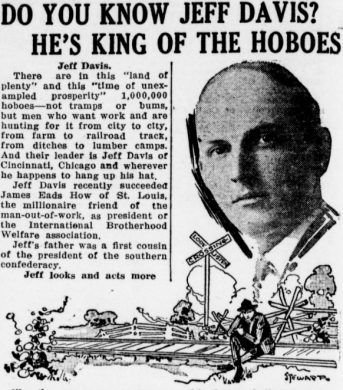 Jeff Davis, self-proclaimed King of Hoboes, pictured in the January 16, 1913 Tacoma Times. (Image courtesy of Washington State Library, via Chronicling America.)